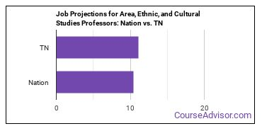 Job Projections for Area, Ethnic, and Cultural Studies Professors: Nation vs. TN