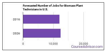 Forecasted Number of Jobs for Biomass Plant Technicians in U.S.