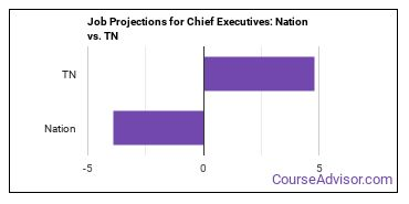 Job Projections for Chief Executives: Nation vs. TN