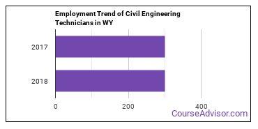 Civil Engineering Technicians in WY Employment Trend