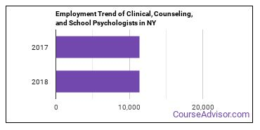 Clinical, Counseling, and School Psychologists in NY Employment Trend