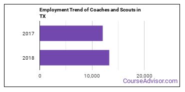 Coaches and Scouts in TX Employment Trend