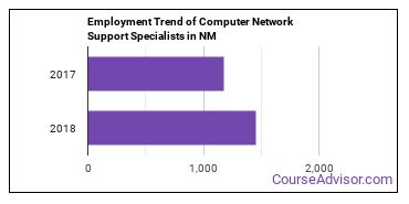 Computer Network Support Specialists in NM Employment Trend