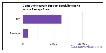 Computer Network Support Specialists in NY vs. the Average State