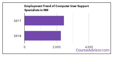 Computer User Support Specialists in NM Employment Trend