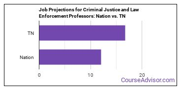 Job Projections for Criminal Justice and Law Enforcement Professors: Nation vs. TN