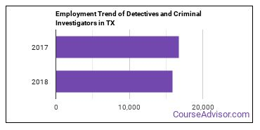 Detectives and Criminal Investigators in TX Employment Trend