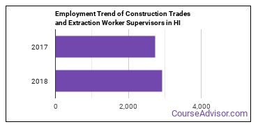 Construction Trades and Extraction Worker Supervisors in HI Employment Trend