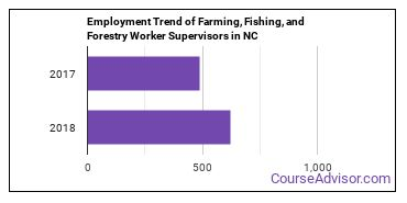 Farming, Fishing, and Forestry Worker Supervisors in NC Employment Trend