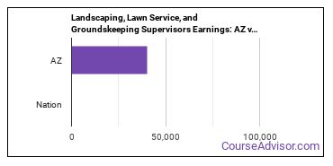 Landscaping, Lawn Service, and Groundskeeping Supervisors Earnings: AZ vs. National Average