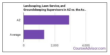Landscaping, Lawn Service, and Groundskeeping Supervisors in AZ vs. the Average State