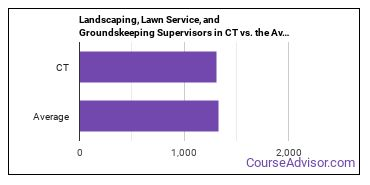 Landscaping, Lawn Service, and Groundskeeping Supervisors in CT vs. the Average State