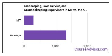 Landscaping, Lawn Service, and Groundskeeping Supervisors in MT vs. the Average State