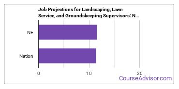 Job Projections for Landscaping, Lawn Service, and Groundskeeping Supervisors: Nation vs. NE