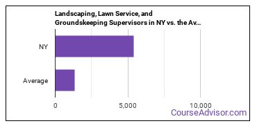 Landscaping, Lawn Service, and Groundskeeping Supervisors in NY vs. the Average State