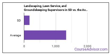 Landscaping, Lawn Service, and Groundskeeping Supervisors in SD vs. the Average State