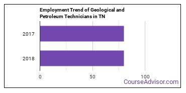 Geological and Petroleum Technicians in TN Employment Trend