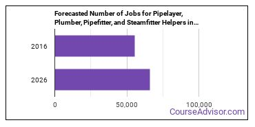 Forecasted Number of Jobs for Pipelayer, Plumber, Pipefitter, and Steamfitter Helpers in U.S.