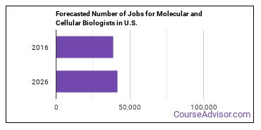 Forecasted Number of Jobs for Molecular and Cellular Biologists in U.S.