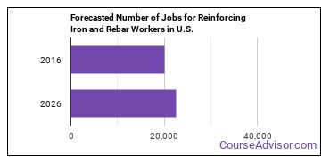 Forecasted Number of Jobs for Reinforcing Iron and Rebar Workers in U.S.