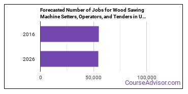 Forecasted Number of Jobs for Wood Sawing Machine Setters, Operators, and Tenders in U.S.