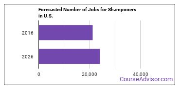 Forecasted Number of Jobs for Shampooers in U.S.