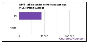 Wind Turbine Service Technicians Earnings: IN vs. National Average