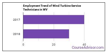 Wind Turbine Service Technicians in WV Employment Trend