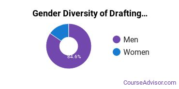 Madison College Gender Breakdown of Drafting & Design Engineering Technology Associate's Degree Grads