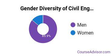 Penn State Harrisburg Gender Breakdown of Civil Engineering Bachelor's Degree Grads
