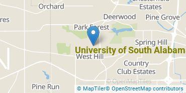 Location of University of South Alabama