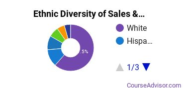 General Sales & Marketing Majors Ethnic Diversity Statistics