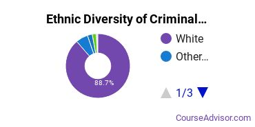 Criminal Justice & Corrections Majors in ME Ethnic Diversity Statistics